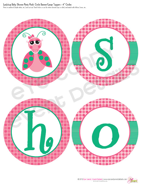 baby shower banner for girls baby shower, ladybug theme, girl ladybug