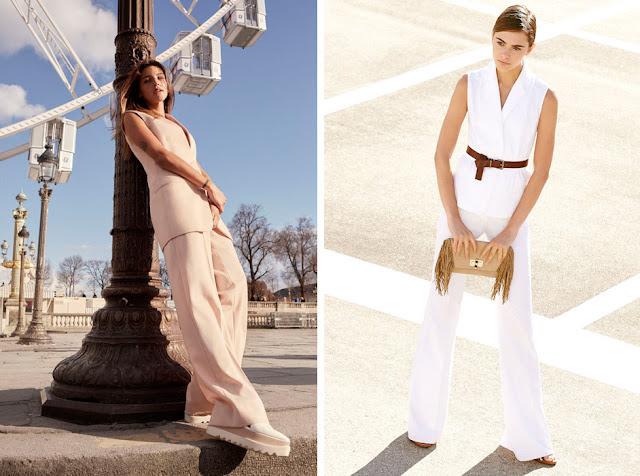 Удлиненный жилет и широкие брюки белого цвета