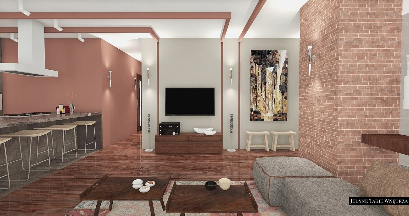 Brick, wood, design in apartament