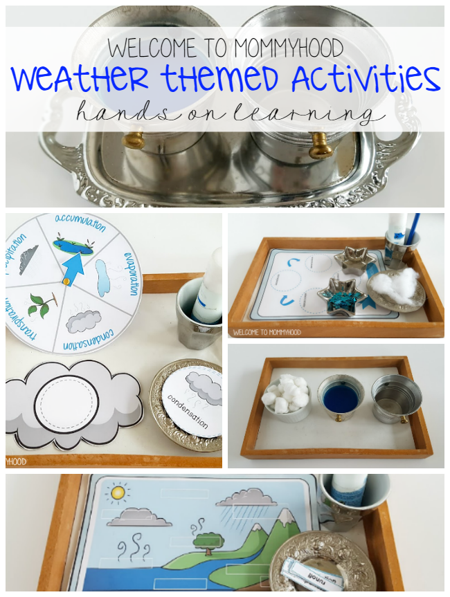 Montessori activities: hands on weather printables and  activities by Welcome to Mommyhood #montessori, #preschool, #scienceactivities, #totlabs, #Montessoriactivities