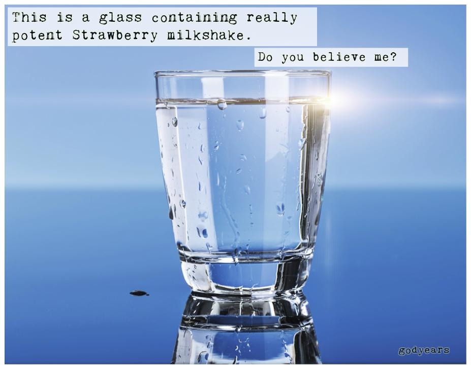 glass of water homeopathy allegory