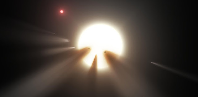 Cascading comets around a distant star (NASA/JPL/Caltech)