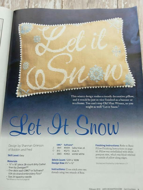 Just CrossStitch Magazine Pae showing Let it Snow Cushion Project
