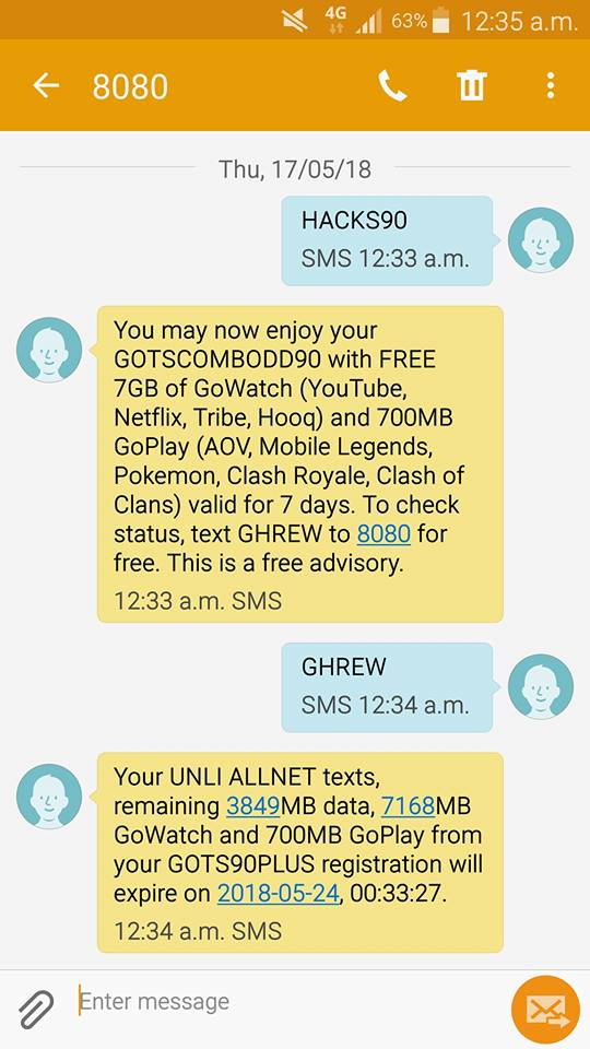 Globe HACKS90 – 7GB of GoWATCH Data, Unli All-net Texts for