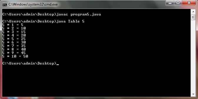 Java program to display multiplication table of any number