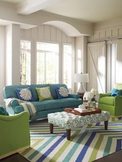 Sala color verde y celeste