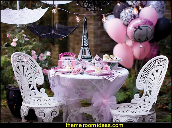 Paris Eiffel Tower Damask Party Supplies  Paris party decorations - Paris themed party supplies - Party in Paris Birthday Party Decorations  -  Pink Paris Party -  Paris party balloons - Eiffel Tower Favor Boxes -  French-themed celebration  - Pink Poodle Paris Theme Birthday Party