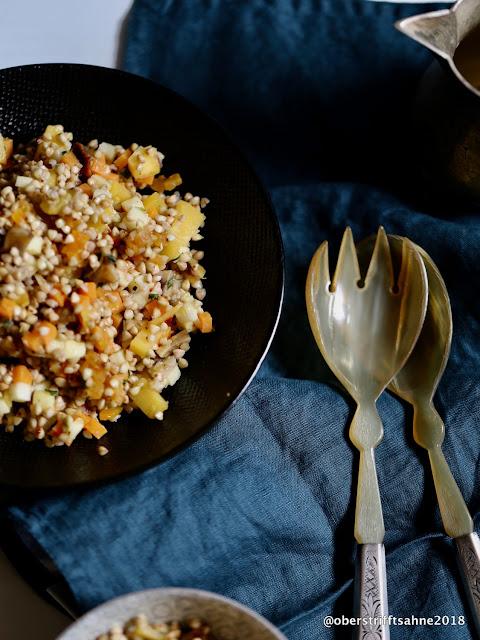 herbstliches Tabulé mit Buchweizen, Maronen,Kürbis, Süßkartoffel