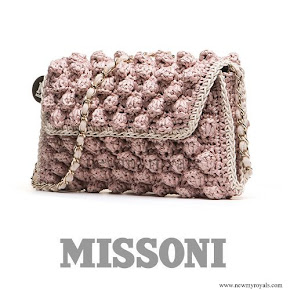 Queen Maxima wears MISSONI Rafia Pink Bag