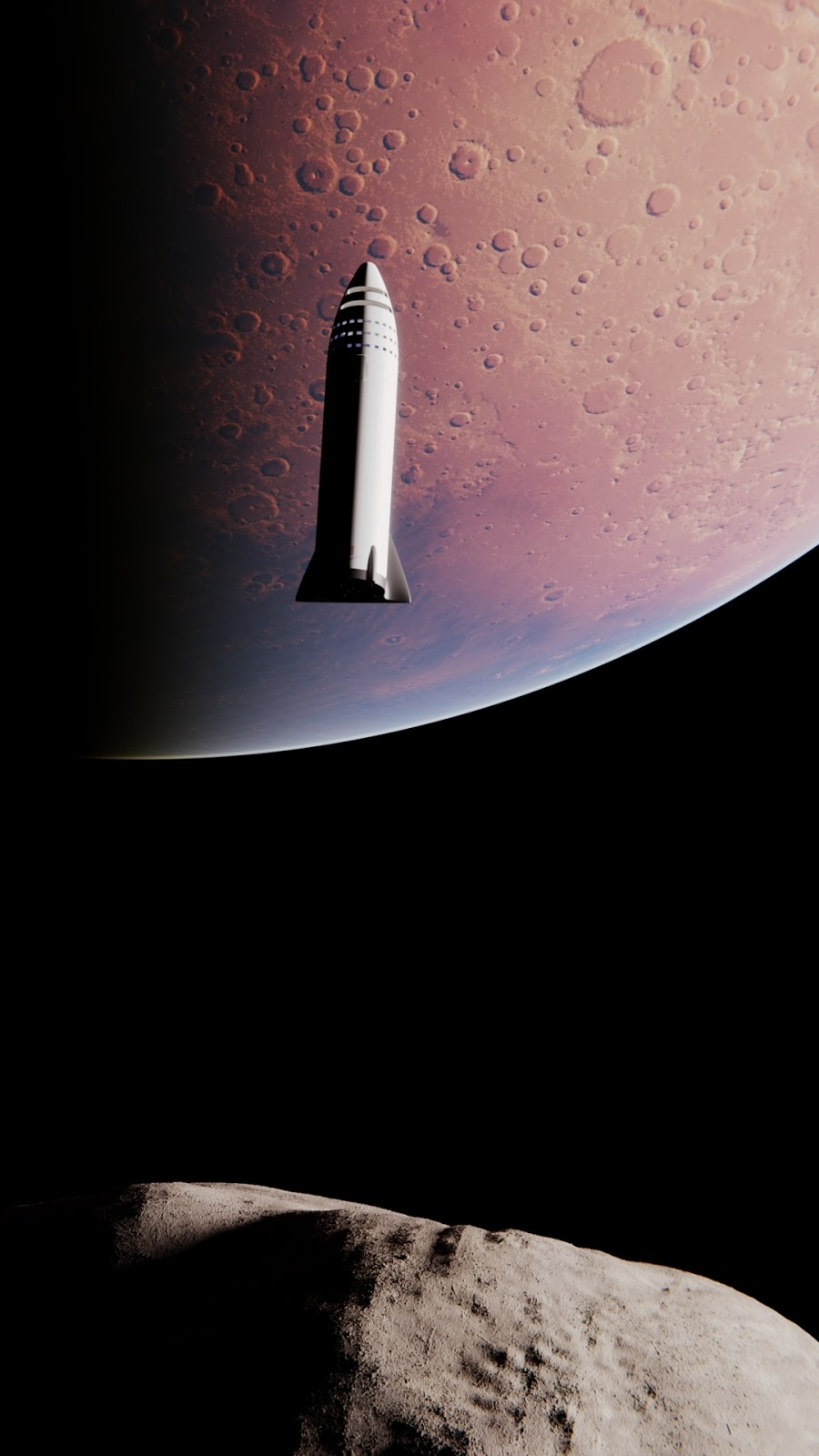 SpaceX BFR spaceship approaching Phobos by Mack Crawford