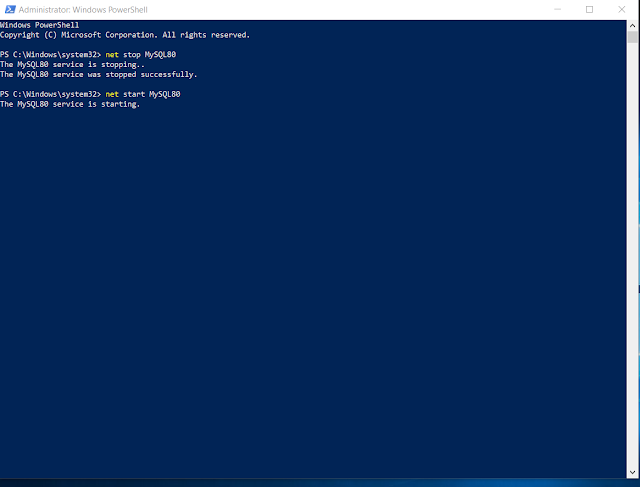 Bật mysql service: net start MySQL80
