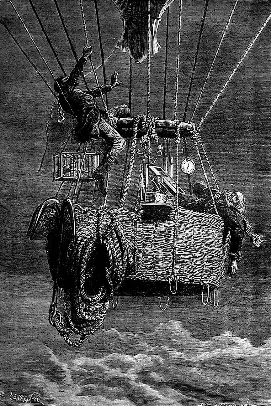 an illustration from a Camille Flammarion science journal, ballooning with no oxygen