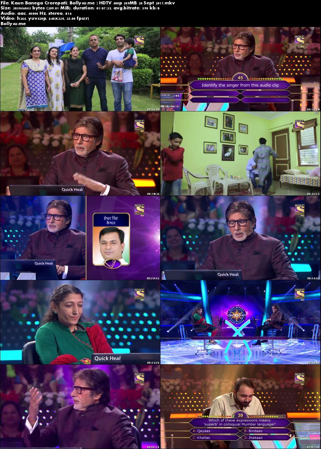 Kaun Banega Crorepati HDTV 480p 280MB 28 Sept 2017 Download