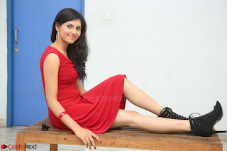 Mounika Telugu Actress in Red Sleeveless Dress Black Boots Spicy Pics 006.JPG