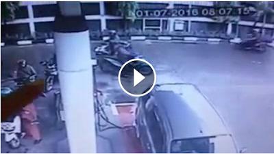 Detik-Detik CCTV Pencurian Di SPBU