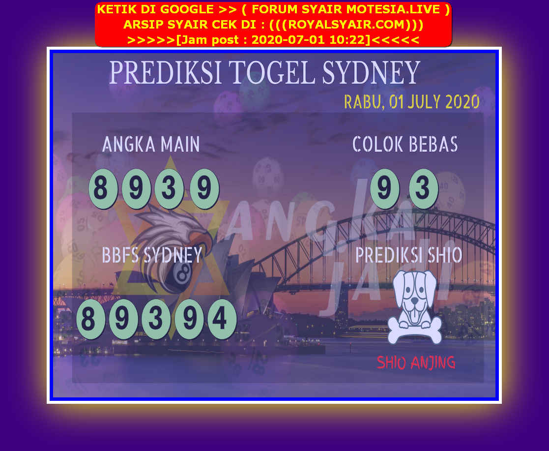 Kode syair Sydney Rabu 1 Juli 2020 120
