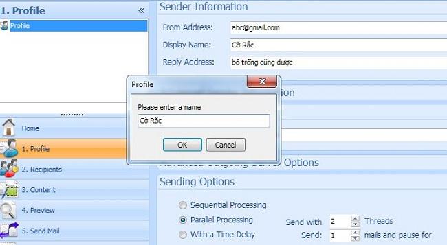 Profile trong phần mềm gửi mail hàng loạt