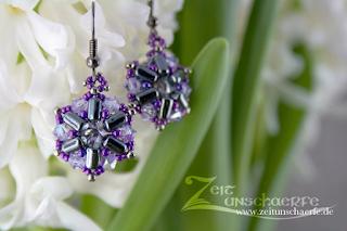 Rionnag-Ohrringe fliederfarben mit Rulla-Beads | www.zeitunschaerfe.de