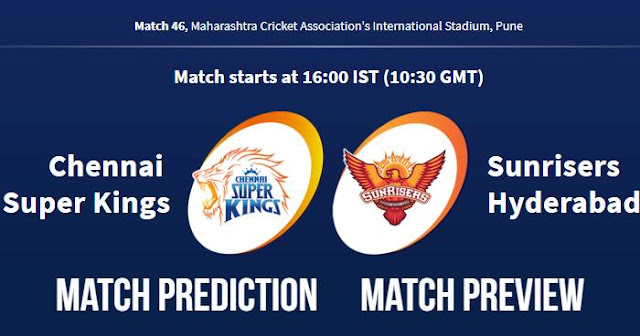 IPL 2018 Match 46 CSK vs SRH Match Prediction, Preview and Head to Head Who Will Win