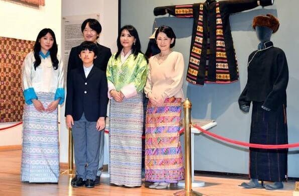 Crown Princess Kiko, Prince Hisahito, Sangay Choden and Princess Dechen Yangzom at National Textile Museum