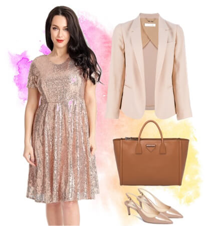 Champagne Sequined Short Sleeves Skater Dress | Lookbook Store