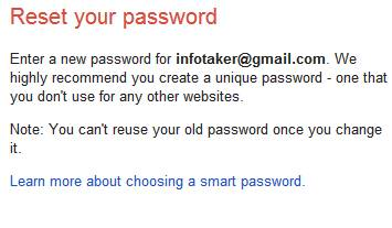 Password recovery for gmail account