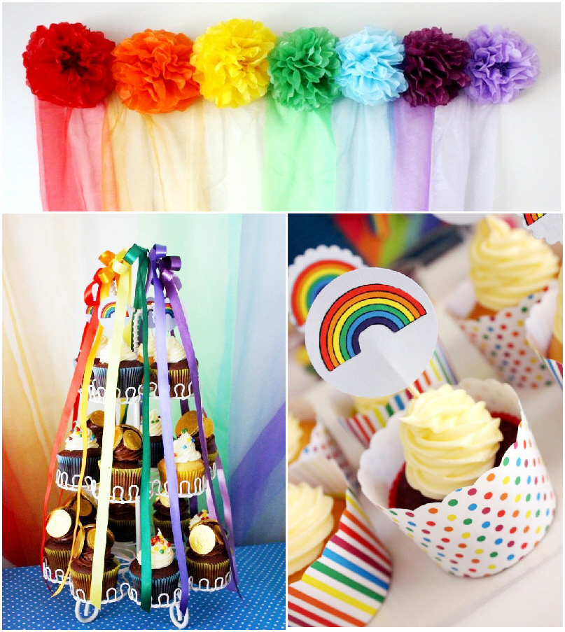 A Colorful Rainbow Party and DIY Desserts Table - via BirdsParty.com