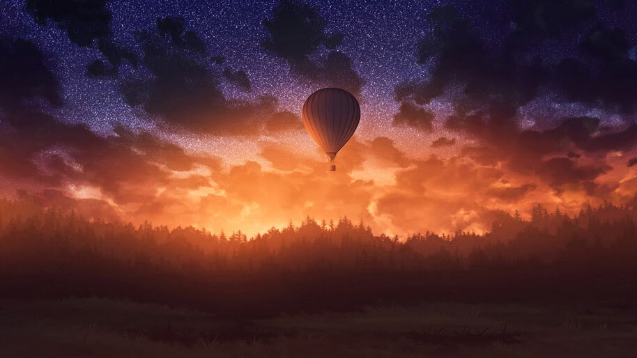 Hot Air Balloons, Sunset, Forest, Scenery, 4K, #6.964