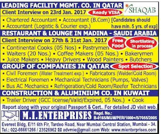 Electrical Foreman and heavy driver vacancy in Saudi arabia and Qatar from Mumbai Interview