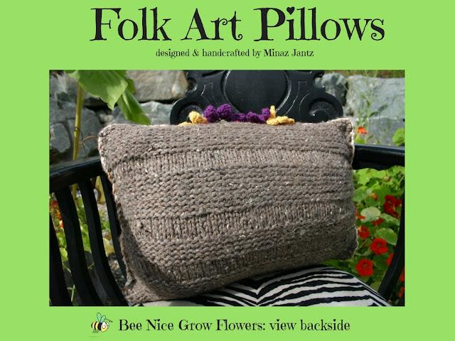 Bee Nice Grow Flowers: Folk Art Pillows by Minaz Jantz