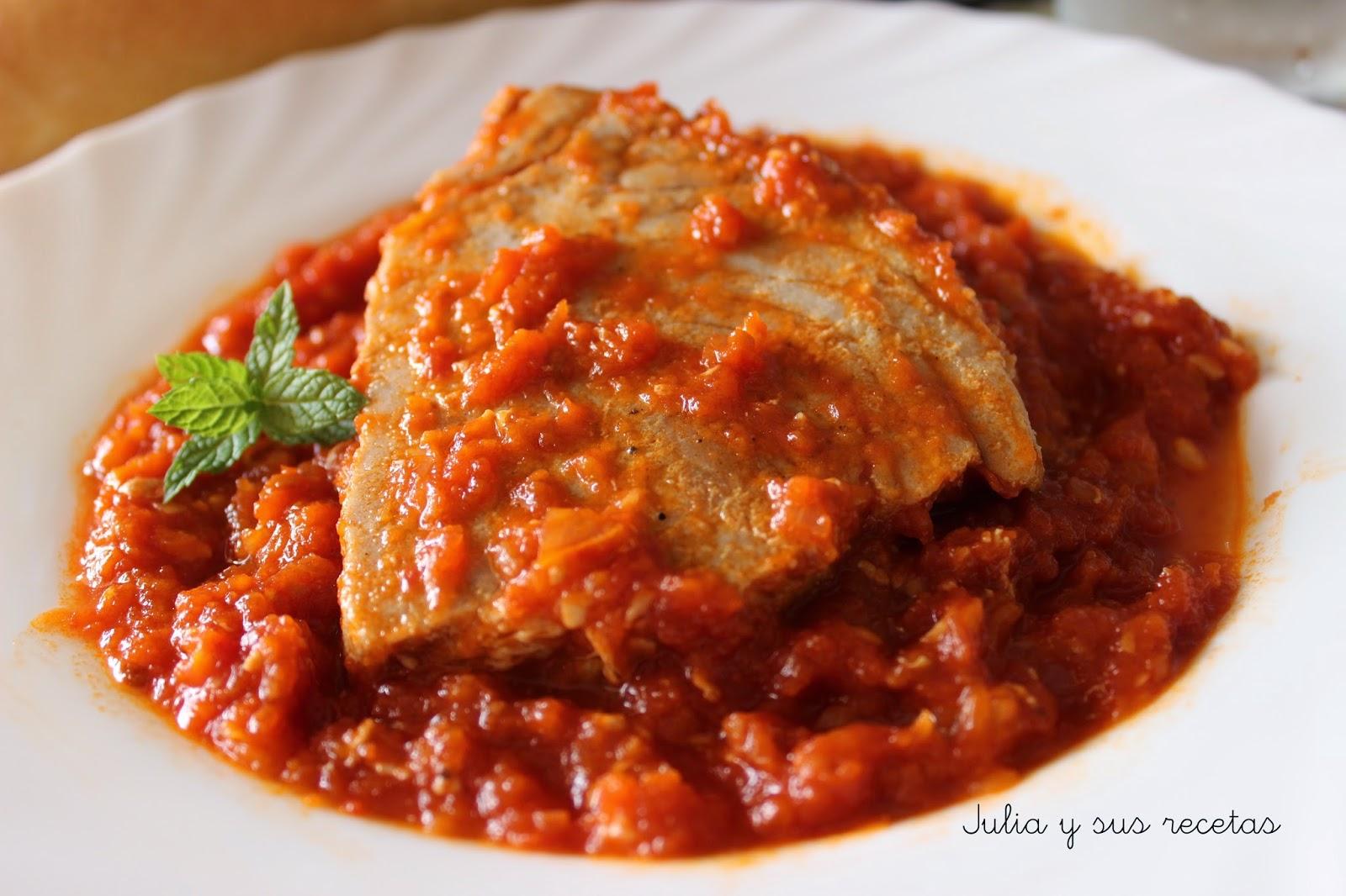 Atún con tomate. Julia y sus recetas