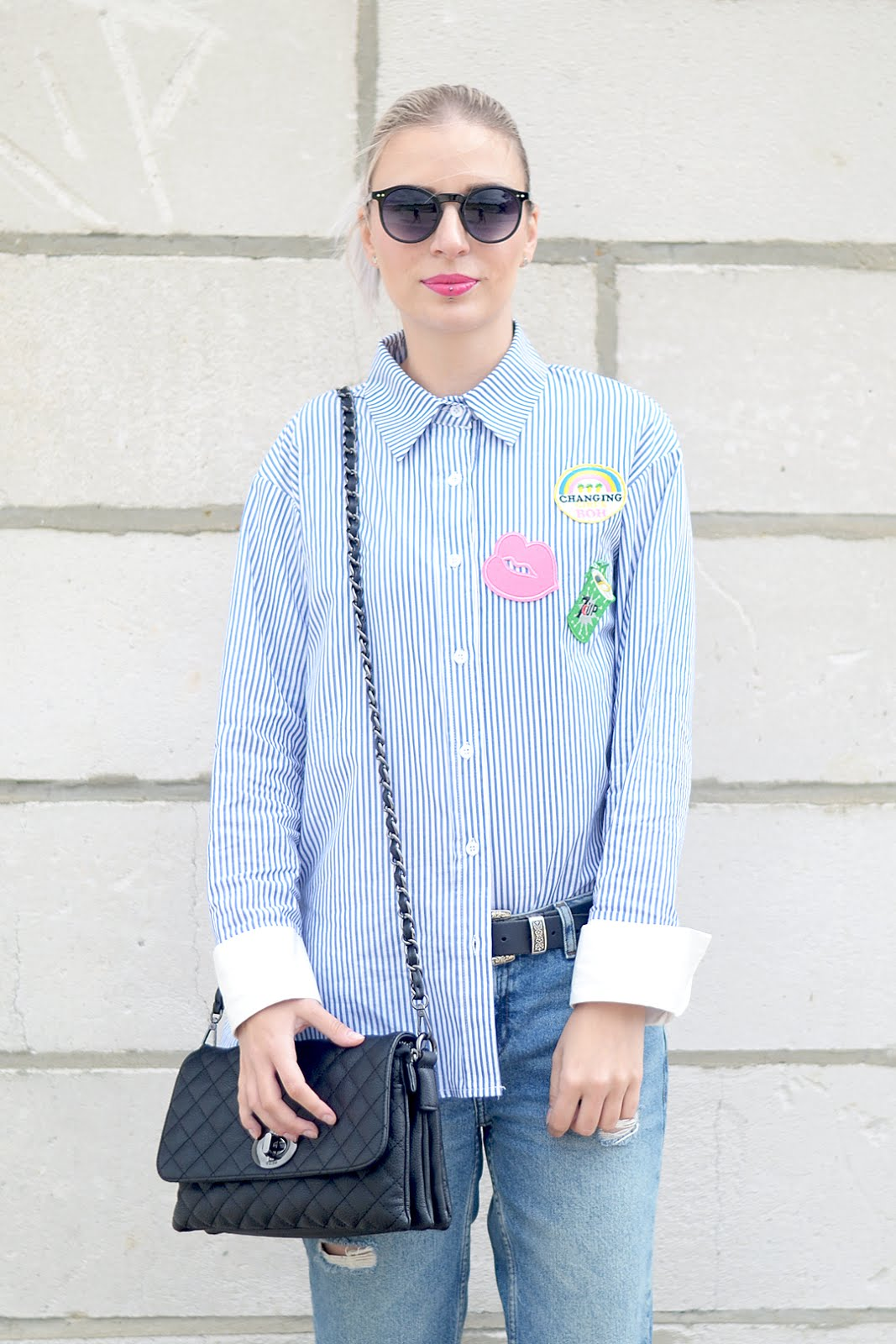Striped shirt, patches, blue, marc b bag, yaz