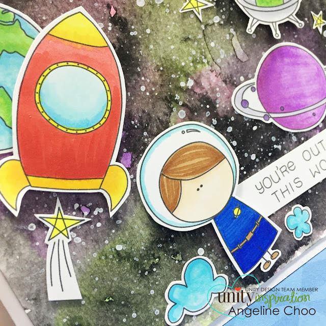 ScrappyScrappy: Watercolor Galaxy and Masking [NEW VIDEOS] #scrappyscrappy #unitystampco #card #watercolor #gansaitambi #outerspace #galaxy #copic #stamp