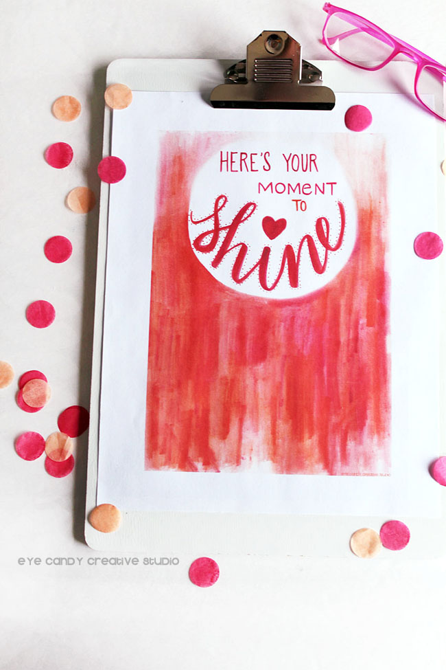 tombow, shine art print, pink & coral, watercolor, hand lettering, confetti