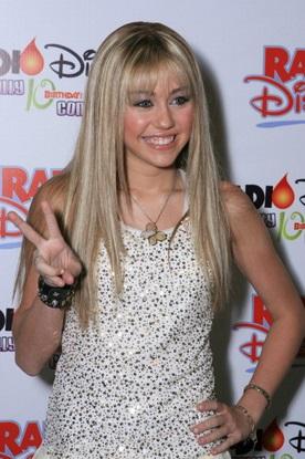 Con el look de Hannah Montana