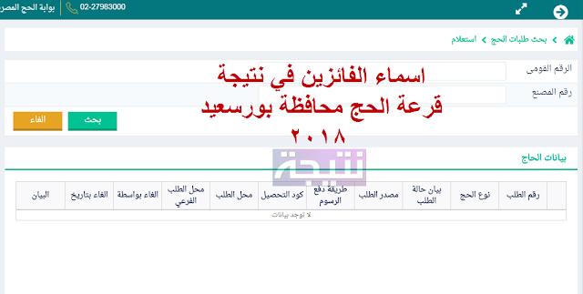 اسماء الفائزين في نتيجة قرعة الحج محافظة بورسعيد 2018