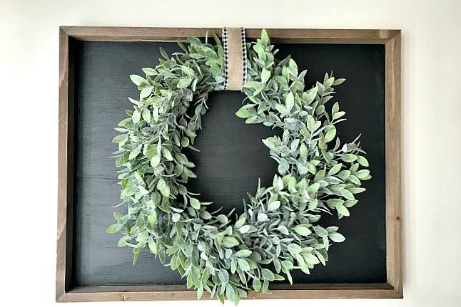 Repurposed Chalkboard and Wreath Art