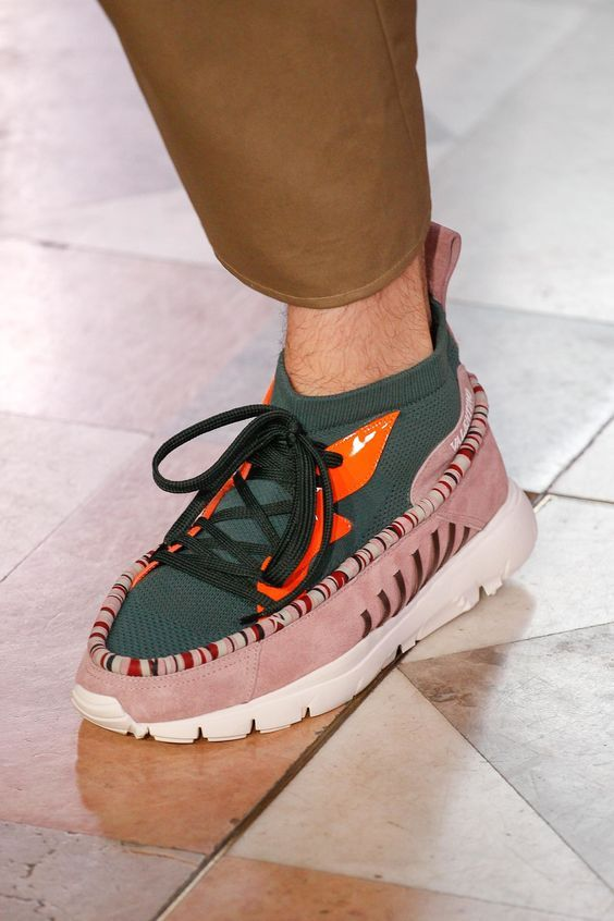Valentino Sneakers in Green and Pink Color