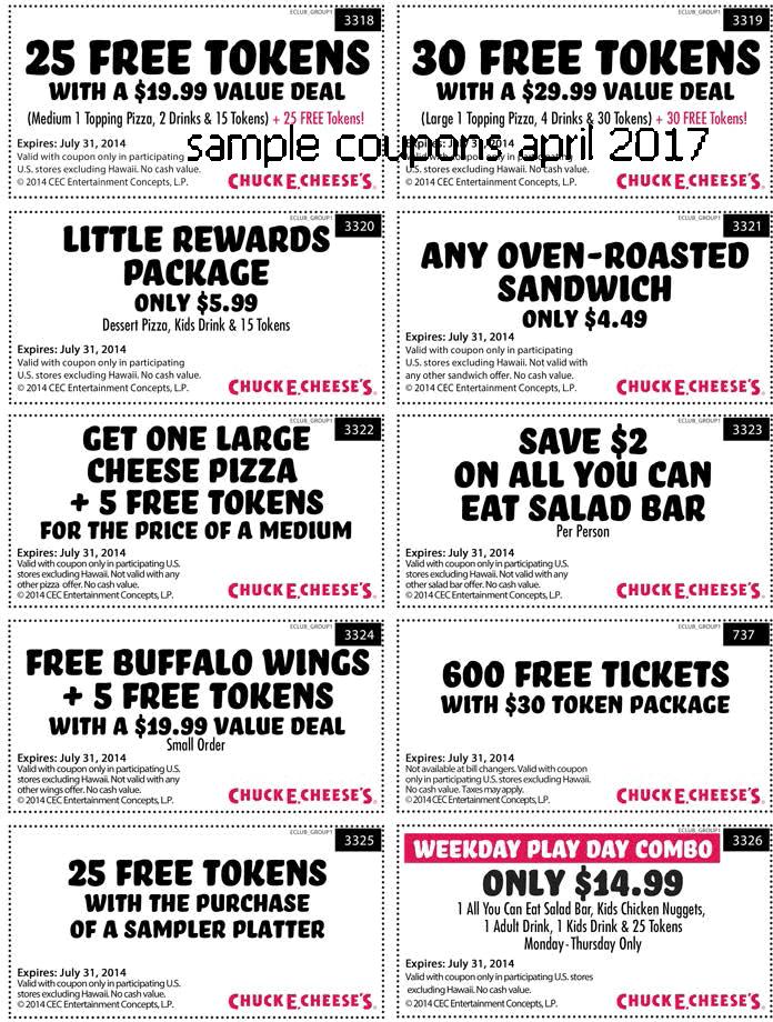 Chuck e cheese canada coupons april 2018