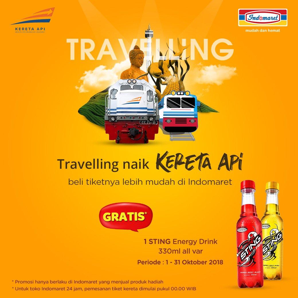 Indomaret - Promo Beli Tiket KAI Gratis 1 Sting Energy Drink 330 ml (s.d 31 Okt 2018)
