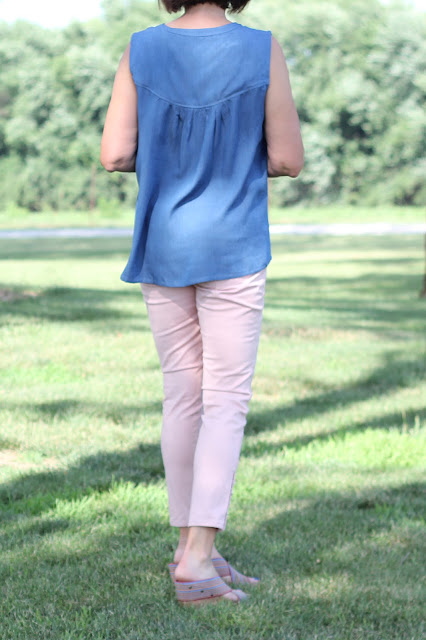 Indiesew's Valencia Tunic in Rayon Denim Shirting - back view