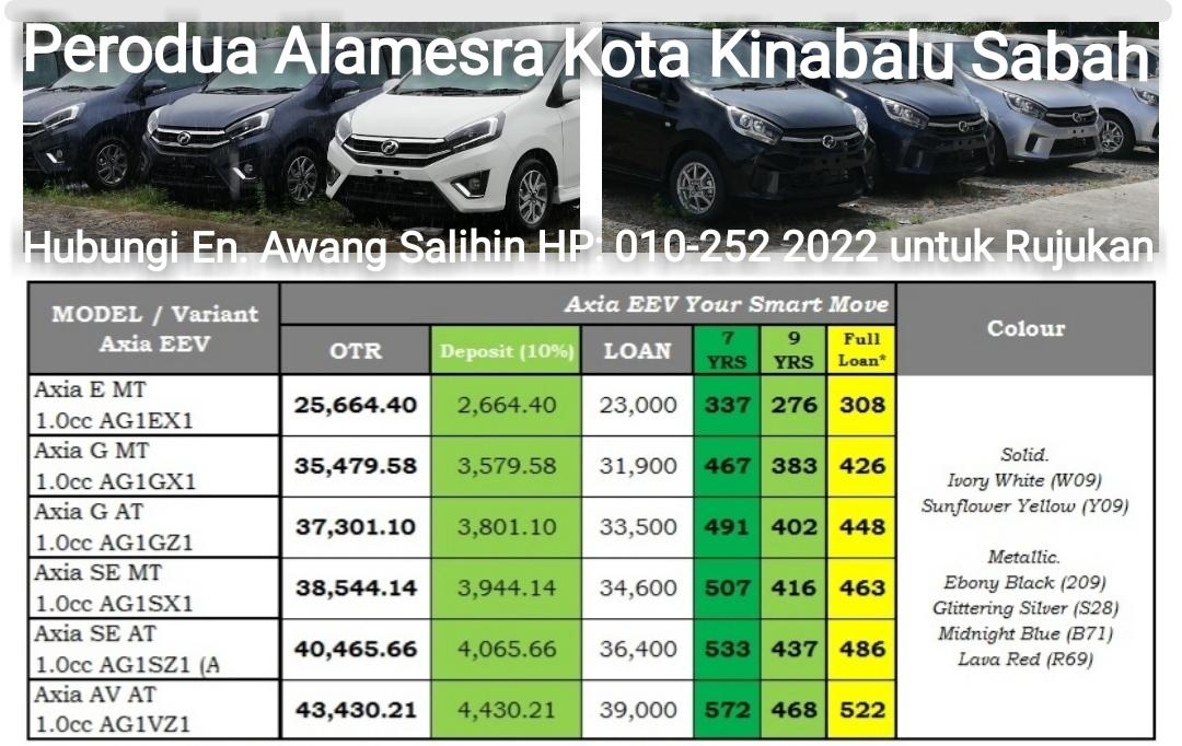 Perodua Axia Sabah : Senarai harga dan jadual bayaran bulanan