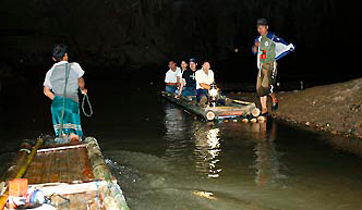 Bamboo Rafts on the cave river