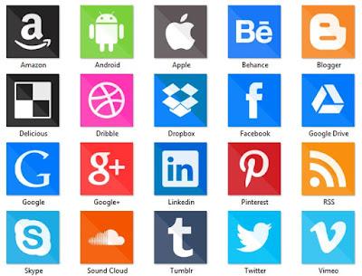 lista de iconos de redes sociales con leyenda