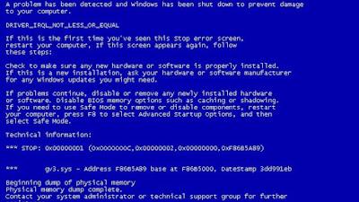 para pengguna windows pasti sudah tidak asing lagi dengan kata Blue Screen