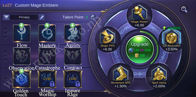 Mobile Legends Custom Mage Emblem Details