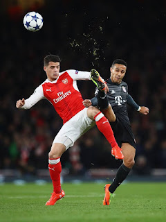 Hard play between Arsenal and Bayern Munich ate emirates. PHOTO | Courtesy