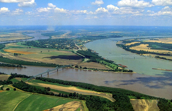 The confluence of the Ohio and Mississippi rivers in Cairo, Illinois, United States
