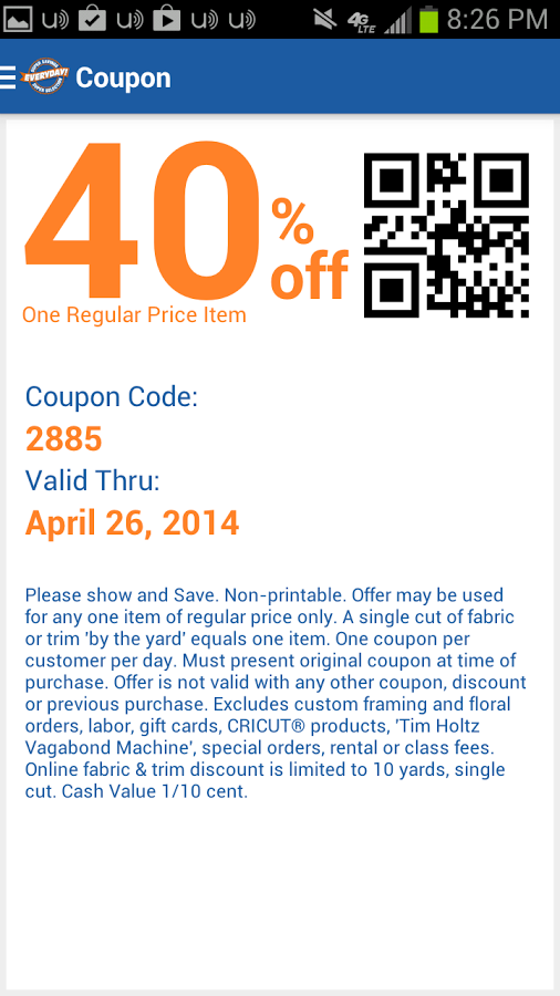 Hobby lobby coupon code 40 off