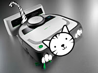 Robotic Vacuum with superimposed graphics to make it look like a cat